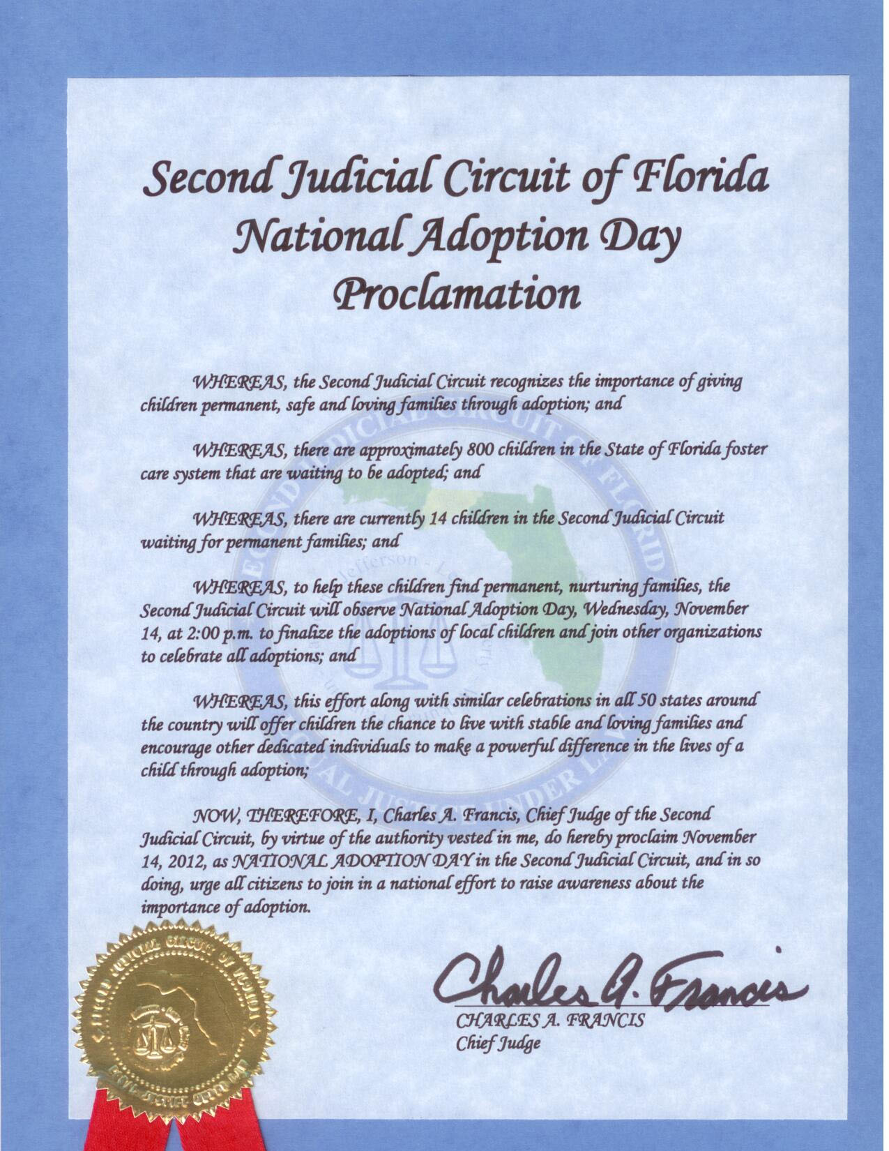 Floridas 2nd Judicial Circuit Adoption Photo Of Day Proclamation